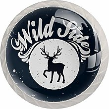 Glass Cabinet Knobs Animal Deer with 3D Visual
