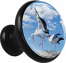 Glass Cabinet Knobs Animal White Crane with 3D