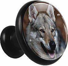 Glass Cabinet Knobs Animal Wolf with 3D Visual