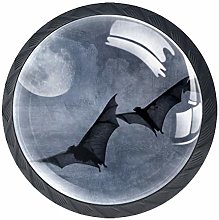 Glass Cabinet Knobs Bat Moon Night with 3D Visual