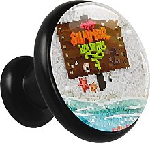 Glass Cabinet Knobs Beach Wooden Sign with 3D
