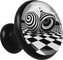 Glass Cabinet Knobs Black and White with 3D Visual