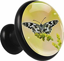 Glass Cabinet Knobs Black Butterfly with 3D Visual