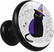Glass Cabinet Knobs Black cat Cloak with 3D Visual