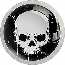 Glass Cabinet Knobs Black White Skull with 3D