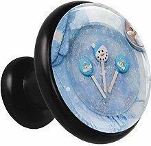 Glass Cabinet Knobs Blue Candy with 3D Visual