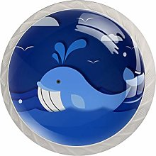Glass Cabinet Knobs Blue Cartoon Whale with 3D