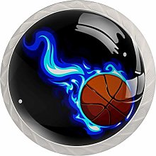 Glass Cabinet Knobs Blue Flame Basketball with 3D