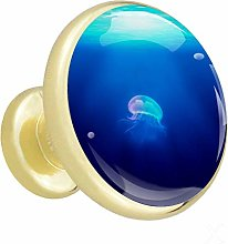 Glass Cabinet Knobs Blue Ocean Octopus with 3D