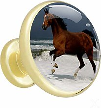 Glass Cabinet Knobs Brown Horse Running with 3D