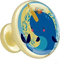 Glass Cabinet Knobs Cartoon Blue Whale with 3D