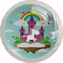 Glass Cabinet Knobs Cartoon Castle Unicorn with 3D
