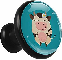 Glass Cabinet Knobs Cartoon Cow with 3D Visual
