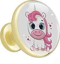 Glass Cabinet Knobs Cartoon Cute Unicorn with 3D