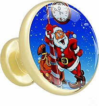 Glass Cabinet Knobs Clock Christmas with 3D Visual
