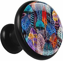 Glass Cabinet Knobs Colorful Animal Feathers with