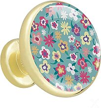 Glass Cabinet Knobs Colorful Flower with 3D Visual