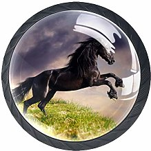 Glass Cabinet Knobs Cool Dark Horse with 3D Visual