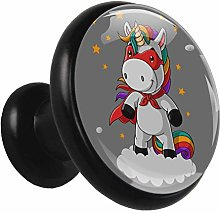 Glass Cabinet Knobs Cool Unicorn with 3D Visual