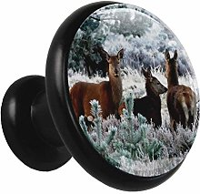 Glass Cabinet Knobs Cute Animal Deer with 3D