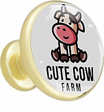 Glass Cabinet Knobs Cute Farm Cow with 3D Visual