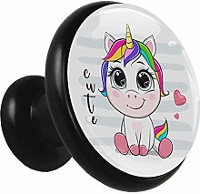 Glass Cabinet Knobs Cute Unicorn with 3D Visual