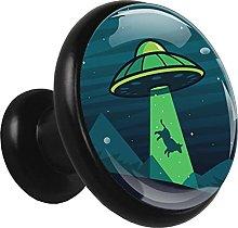 Glass Cabinet Knobs Dark Blue Spacecraft with 3D
