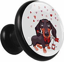 Glass Cabinet Knobs Dog Love with 3D Visual