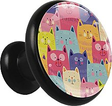 Glass Cabinet Knobs Doodle Happy Cats with 3D