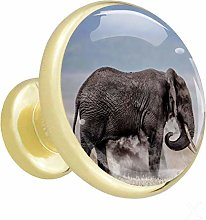Glass Cabinet Knobs Elephant with 3D Visual