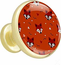 Glass Cabinet Knobs Foxes Orange with 3D Visual
