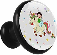 Glass Cabinet Knobs Girl and Unicorn with 3D