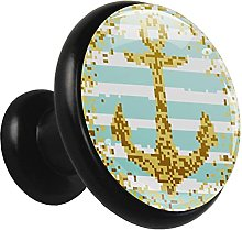 Glass Cabinet Knobs Gold Pixel Sailing with 3D
