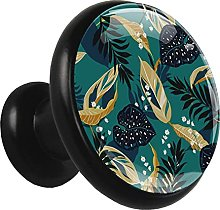 Glass Cabinet Knobs Green Jungle Leaves with 3D