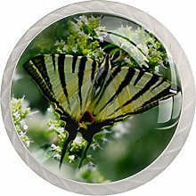 Glass Cabinet Knobs Green Leaves Butterflies with