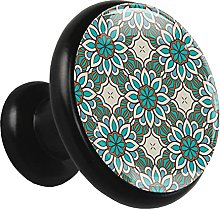 Glass Cabinet Knobs Green Mandala Pattern with 3D