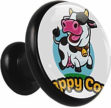 Glass Cabinet Knobs Happy Cow with 3D Visual