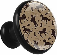 Glass Cabinet Knobs Horse Shadow with 3D Visual