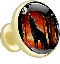 Glass Cabinet Knobs Howling Timberwolves with 3D