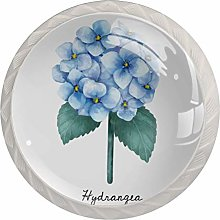 Glass Cabinet Knobs Hydrangea with 3D Visual