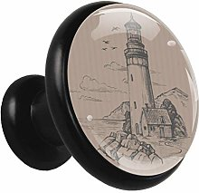 Glass Cabinet Knobs Lighthouse House with 3D