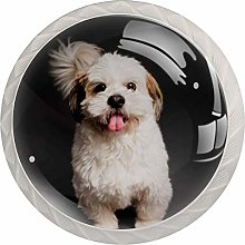 Glass Cabinet Knobs Lovely White Dog with 3D
