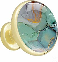 Glass Cabinet Knobs Marble Gray Green with 3D