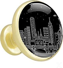 Glass Cabinet Knobs Night City with 3D Visual