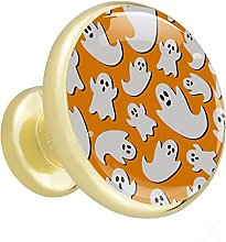 Glass Cabinet Knobs Orange Ghost with 3D Visual