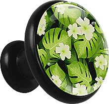 Glass Cabinet Knobs Palm Leaves Flowers with 3D