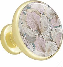 Glass Cabinet Knobs Pastel Flowers with 3D Visual