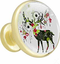 Glass Cabinet Knobs Pattern Deer with 3D Visual