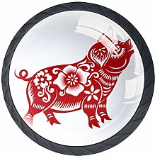 Glass Cabinet Knobs Pig Paper Cut with 3D Visual