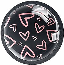 Glass Cabinet Knobs Pink Love with 3D Visual